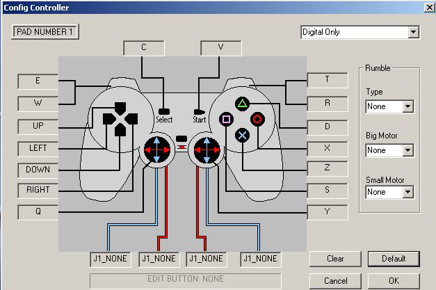 Tela de configuração dos botões