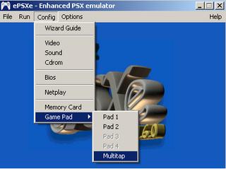 Vá em Config/Game Pad/ Multitap